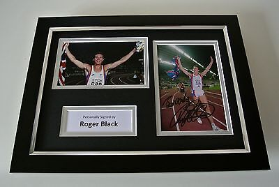 Roger Black SIGNED A4 FRAMED Photo Autograph Display Olympic 400m Athletics COA