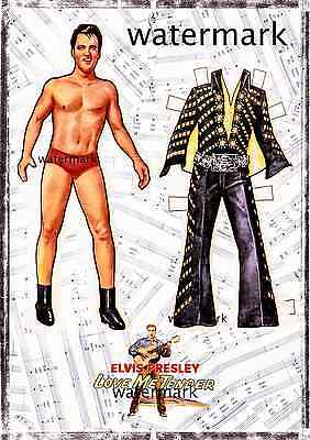 Elvis Presley paper doll cut out on Love me Tender music score A4 card