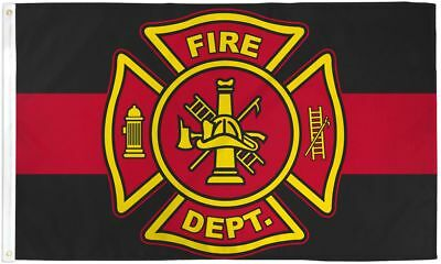 """Fire Department Thin Red Line Big 3x5' Flag New Honoring Firefighters 36""""x60"""""""