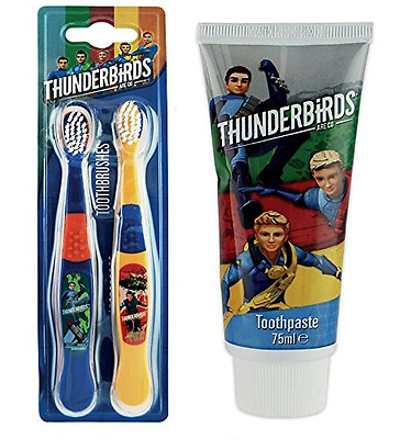 Boys Thunderbirds Oral Care Bundle - Twin pack Toothbrush and Toothpaste