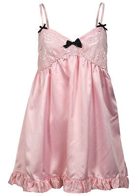 Ex Chainstore Pink with Black Bow Babydoll Nightwear Lingerie-UK 8,10,12,14