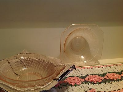 Vintage Indiana Glass Pink Recollection Salad Bowl
