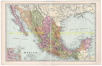 Mexico, Pacific Ocean, - Bacons Antique Colour Map, 1910 With Inset