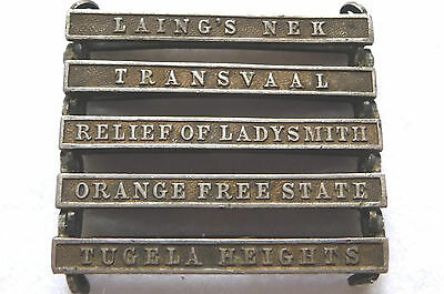 Original 5 clasps Boer War-Laing's Nek,Transvaal,Relief Ladysmith,Tugela Hts&Orn