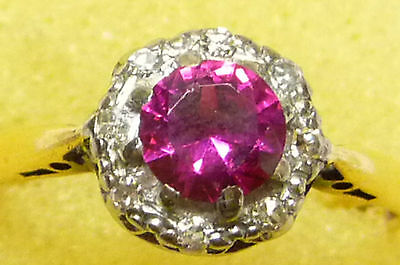 Vintage Round Faceted Ruby & 8-Diamond, 18ct Gold Ring Size L (U.S. size 5-3/4)