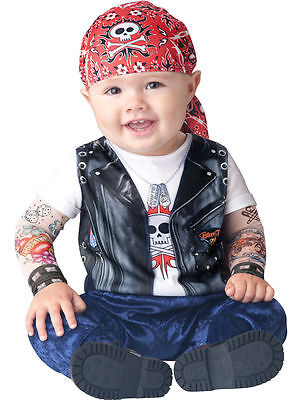 Costume Incharacter Baby Biker Punk Top Quality Bambino 6/12 Mesi