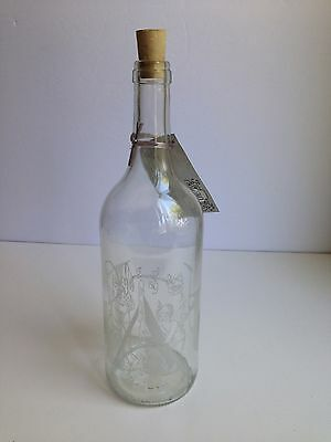 BRAND NEW! Glass Water Bottle EAU (French) Decanter Etched Cherub Cork Stopper