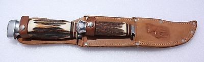 Vintage Bowie  Twin Double K. Tragbar Solingen Stag Knives & Sheath Germany