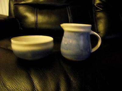 Aviemore Scotland Milk Jug and Sugar Bowl Abstract Blue on White Clay