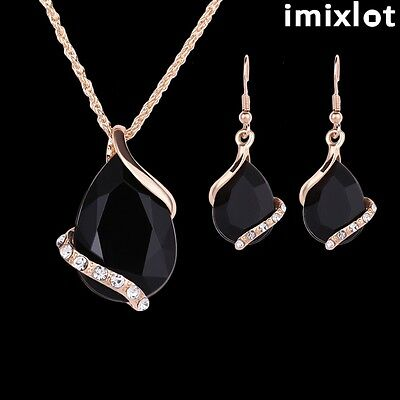 IMIXLOT Women Pendant Gold Plated Black Crystal Necklace Earrings Jewelry Set