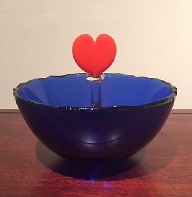Decorative Handmade Valentine Heart Bowl *Blue & Red* Mint Condition