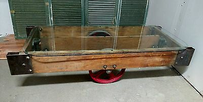 Reclaimed Vintage Industrial Railroad Factory Cart Glass Top Coffee Table