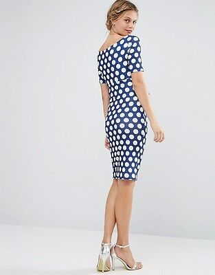 2017 Stock Maternity Blue Polkadot Fitted Bardot Dress Sizes 6-20 New Rrp £28