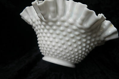 Vintage Hobnail Milk Glass Ruffle Bowl