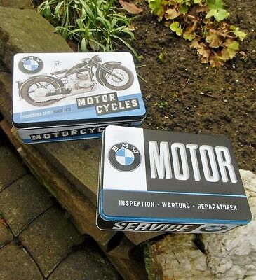 Official BMW Service Motor Motorcycles Tin Storage Lunch Box SET Made in Germany