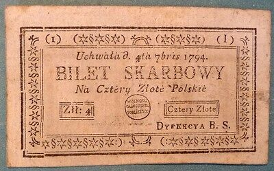 Poland 4  Zlote Note Issued 04.07. 1794, Pa 11,