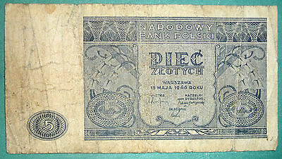 Poland 5  Zlotych Note ,issued  15.05. 1946, P 125,
