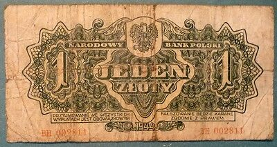 POLAND 1  ZLOTY NOTE  from 1944 issue, P 105 a