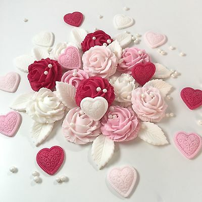 Anniversary Roses & Hearts Bouquet Sugar Edible Flowers Cake Decorations Toppers