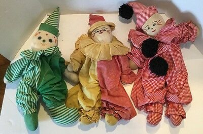 Antique Set of 3 Sock Dolls Clowns Cloth 16""