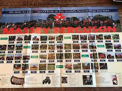 Massey Ferguson Fold Out Brochure / Poster Tractors Combines Implements Chart