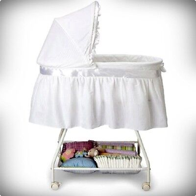 White Bassinet Baby Basket Cradle Crib Nursery Infant Newborn Sleeper Portable
