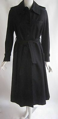 vintage 1970s VALENTINO fabulous black wool zipper trench coat with belt