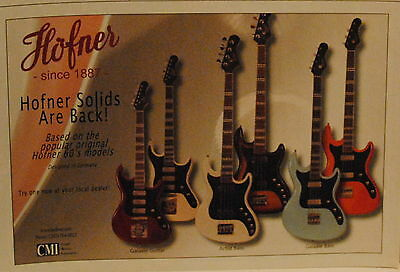 2010 Hofner Galaxie guitar Artist bass and Galaxie bass guitars print ad