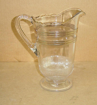 Eapg Crystal Gold Knurling #187 Tankard Pitcher Indiana T&g Greentown 1900