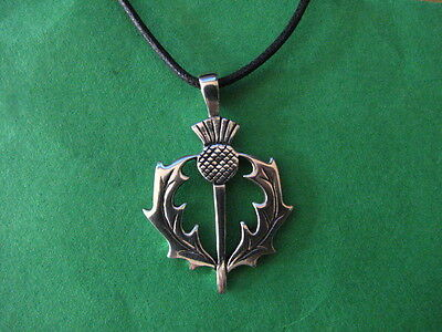CELTIC THISTLE Pewter Pendant Wicca Pagan Protection Scottish Pictish