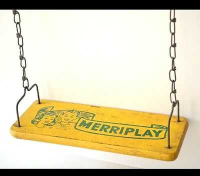 Vintage MERRIPLAY Wooden Swing With Original Chain 1950's Photo Prop, Decor