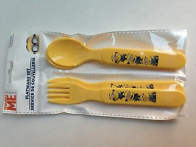 Despicable Me MINIONS Kids Toddler Flatware Spoon Fork 4-PC Set,BRAND NEW