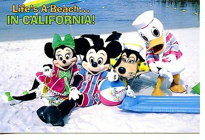Mickey Minnie Mouse-Character Friends-Sand Beach-California-Disney Postcard