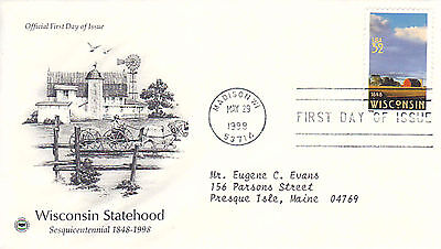 1998 USA Sesquicentennial Wisconsin Statehood FDC