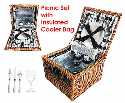 Picnic Set Insulated Cooler Bag Woven Basket Camping Stainless Steel Cutlery Kit