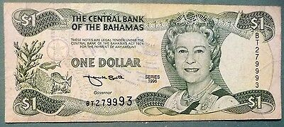 Bahamas, The Central Bank 1 Dollar Note From 1996, P 57, Queen