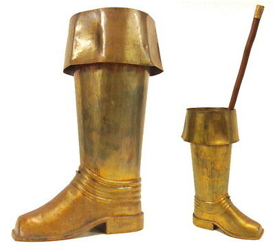 Antique Spanish Revival/Regency Hammered Brass Riding Boot Umbrella Cane Stand