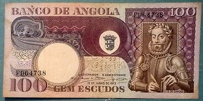 Angola 100 Escudos Note,  P 106, Issued 10.06. 1973, Luiz De Camoes,