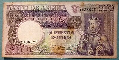 Angola 500 Escudos Note,  P 107, Issued 10.06. 1973, Luiz De Camoes,