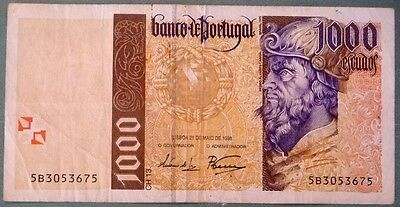 PORTUGAL 1000 ESCUDOS NOTE ISSUED 21.05. 1998, P 188 c