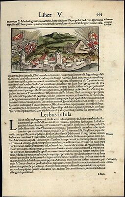 Greece Greek islands Rhodes c.1552 Munster city view w/ orig. early hand color