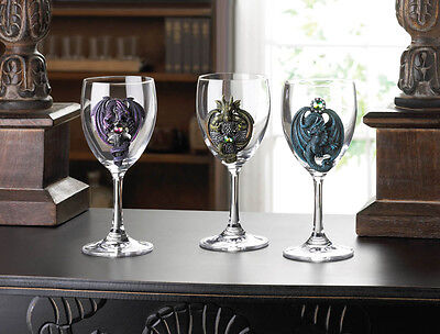 NEW Gothic Gifts Dungeon Decor Set of 3 DRAGON emblem Wine Glass Goblets Mystic