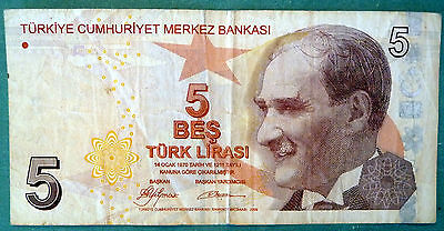 TURKEY 5 LIRA NOTE, P 222, issued 2009, BROWN NOTE