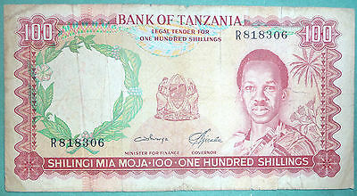 TANZANIA 100 SHILLINGI NOTE FROM 1966, P 5 b,  SIGNATURE 3 , LIONS