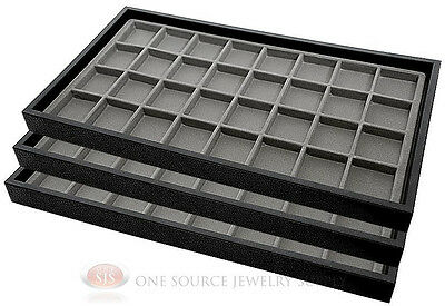 (3) Black Plastic Stackable Trays w/32 Compartments Gray Jewelry Display Insert
