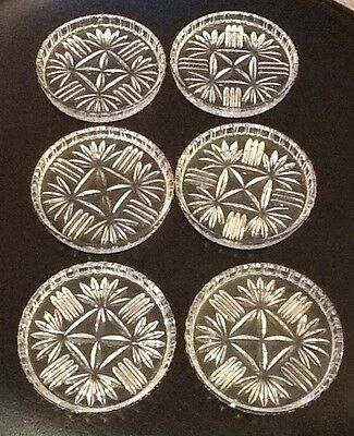 "set of 6 vintage clear glass coasters with a starburst pattern, 3.25"" diameter"