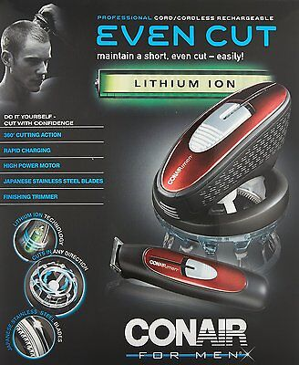 Conair for Men Even Hair Cut Clipper Comb Trimmer Rechargeable Brush Barber New