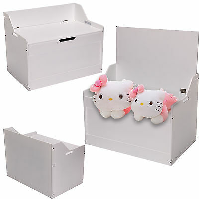 New Large Childrens Toy Box Room Storage White Chest Bedroom Wood Furniture Unit