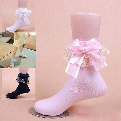 Baby Girls Short Ankle Lace Frilly Ruffle Princess Socks Big Bow Cotton