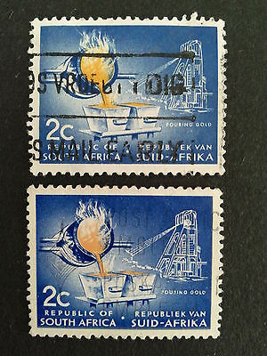 2 Timbres Afrique Du Sud South Africa 1963 Suid Afrika Pouring Gold Or Coule